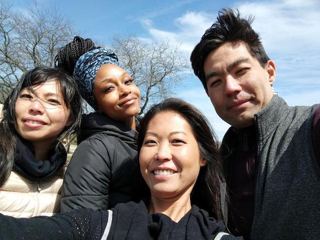 Yaya DaCosta (Second from Left) with friends as seen in April 2018