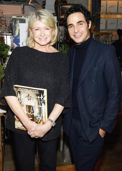 Zac Posen with businesswoman Martha Stewart to celebrate the book launch in October 2018