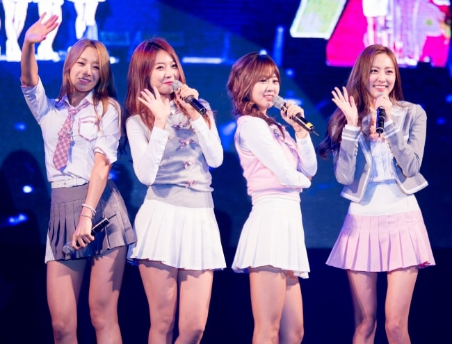 BESTie members, Uji, Dahye, Hyeyeon, and Haeryung (From Left to Right), at Gunpo Citizens Day in October 2014