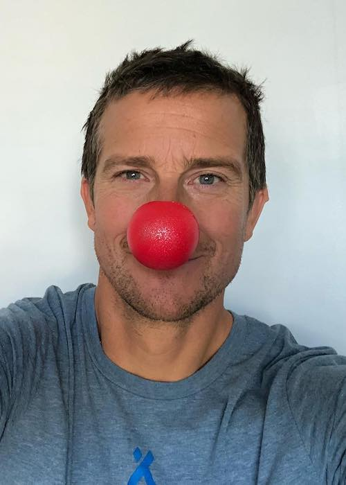 Bear Grylls celebrating Red Nose Day USA in May 2018
