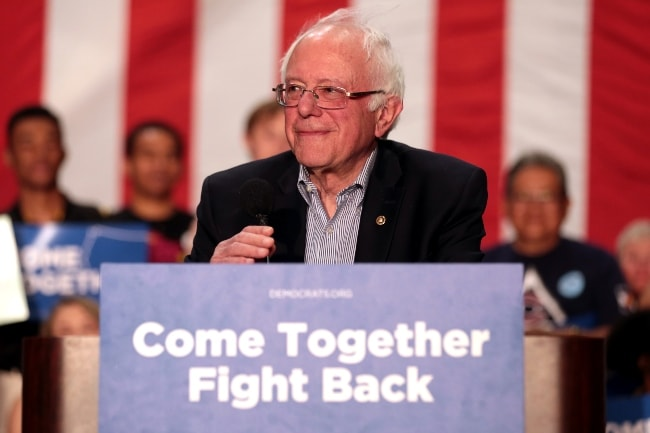 Bernie Sanders as seen at a 'Come Together and Fight Back' rally hosted by the Democratic National Committee in Mesa, Arizona in April 2017
