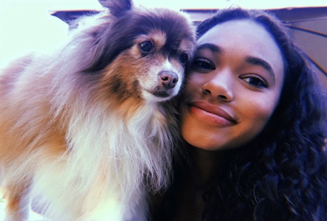 Chandler Kinney in a selfie with her dog as seen in November 2018