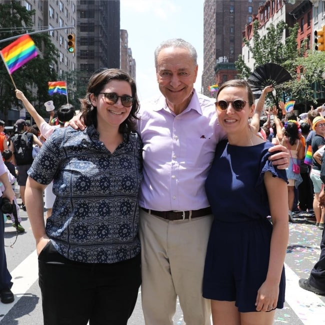 Chuck Schumer with his daughter and her fiancée at the NYC Pride Parade in June 2018