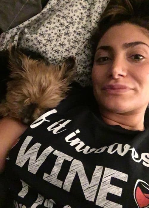 Deena Nicole Cortese in a selfie with her dog as seen in March 2018