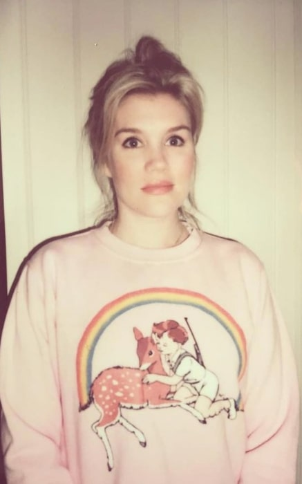 Emerald Fennell in a pretty jumper