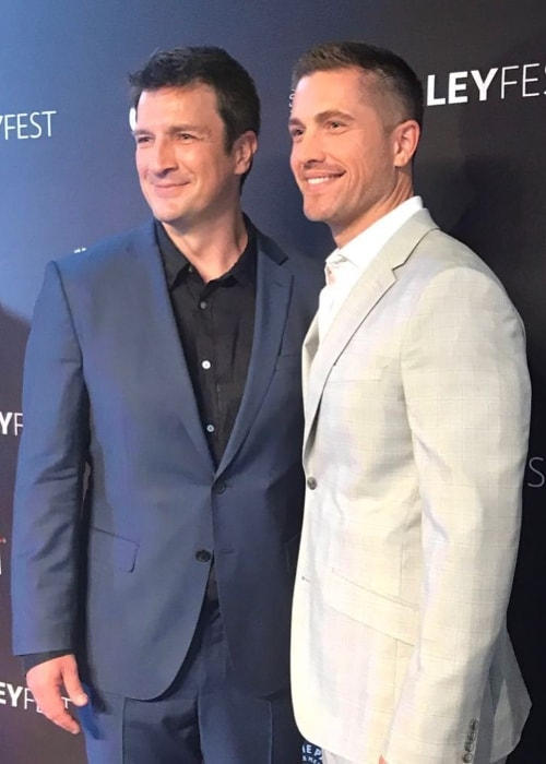 Eric Winter (Right) with Nathan Fillion in september 2018