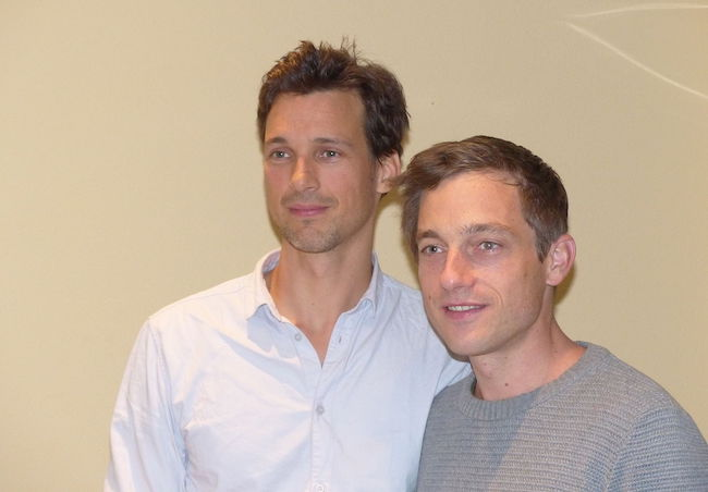 Florian David Fitz (Left) with Volker Bruch at back and away Cinema Tour Dortmund 2014