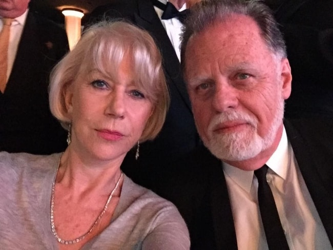 Helen Mirren in a selfie with Taylor Hackford in February 2017