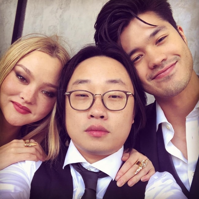 Jimmy O. Yang taking a selfie with Ross Butler and Devon Aoki in October 2018