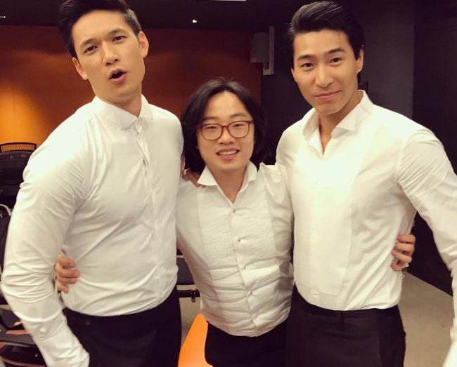Jimmy O. Yang with Chris Pang (Right) and Harry Shum Jr. (Left) in Singapore in August 2018