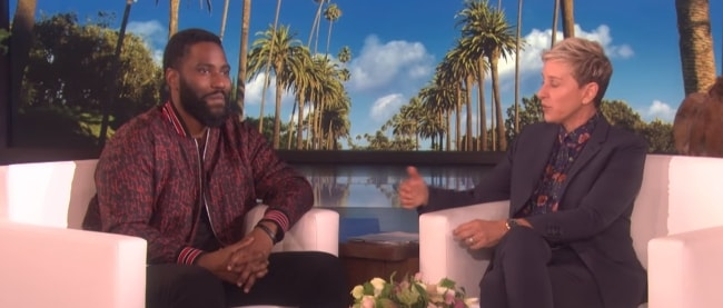 John David Washington with Ellen DeGeneres on her talk-show in 2018