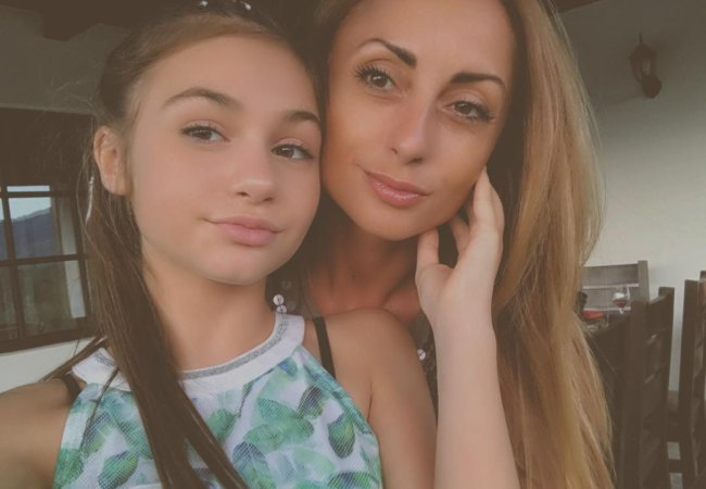 Krisiya Todorova (Left) in a selfie with her mother as seen in August 2017