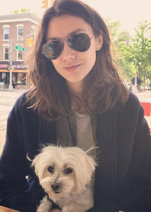 Ksenia Kahnovich with her dog in May 2017