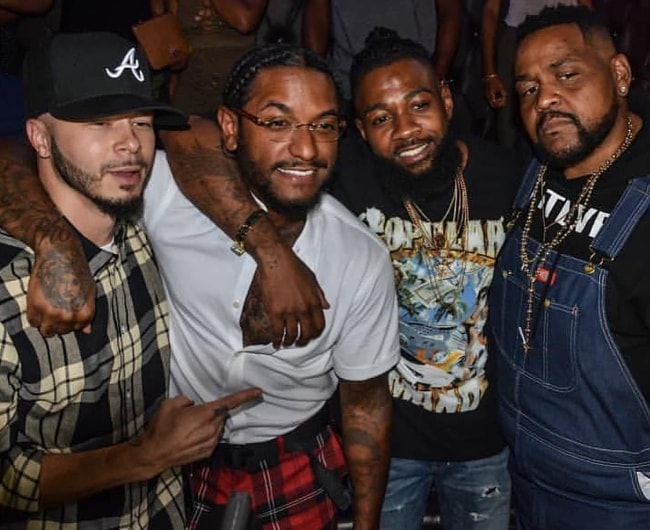 "Lloyd (Second from Left) at the album release party for ""TRU"" at Boogalou Restaurant Lounge in September 2018"