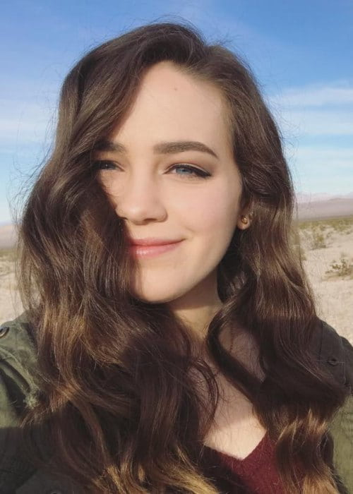 Mary Mouser in a selfie as seen in April 2018