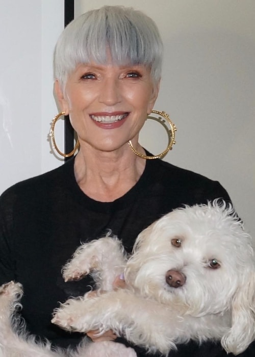 Maye Musk in a picture with her dog in June 2018