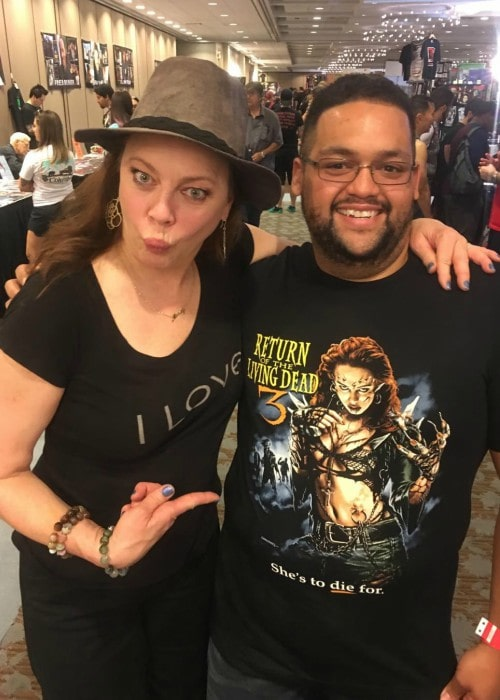 Melinda Clarke with a friend as seen in August 2019