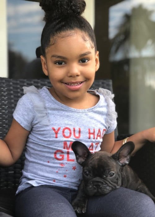 Nareah Pierre with her dog as seen in April 2018