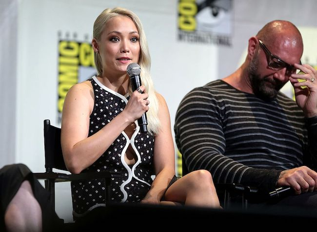 Pom Klementieff and Dave Bautista at the 2016 San Diego Comic-Con International
