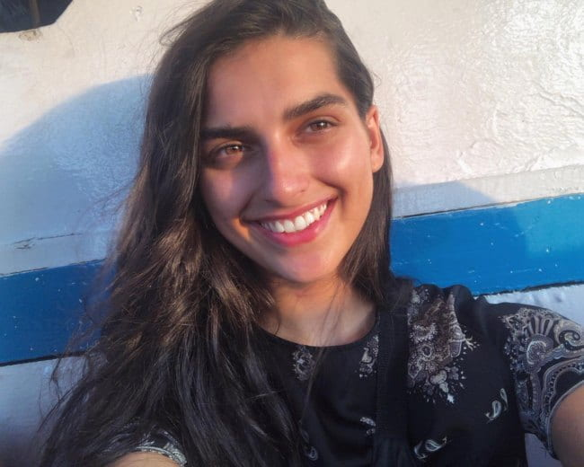 Saffron Vadher in a selfie as seen in October 2018