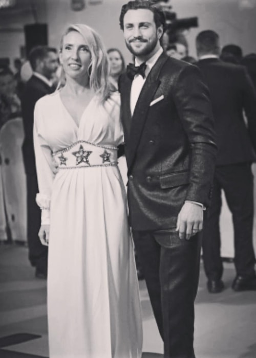 Sam Taylor-Johnson in a black-and-white picture with Aaron Taylor-Johnson in September 2018