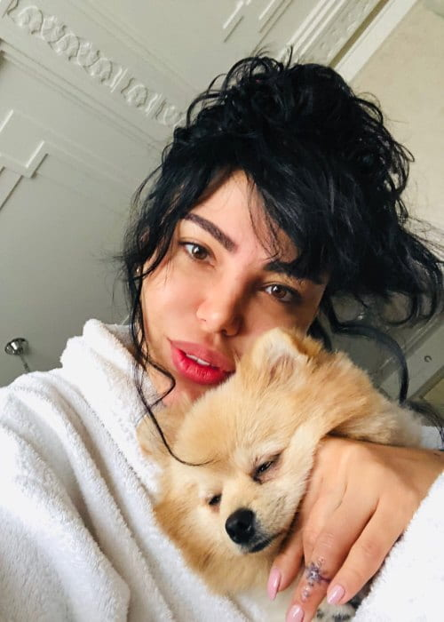 Shorena Begashvili in a selfie with her dog as seen in November 2018