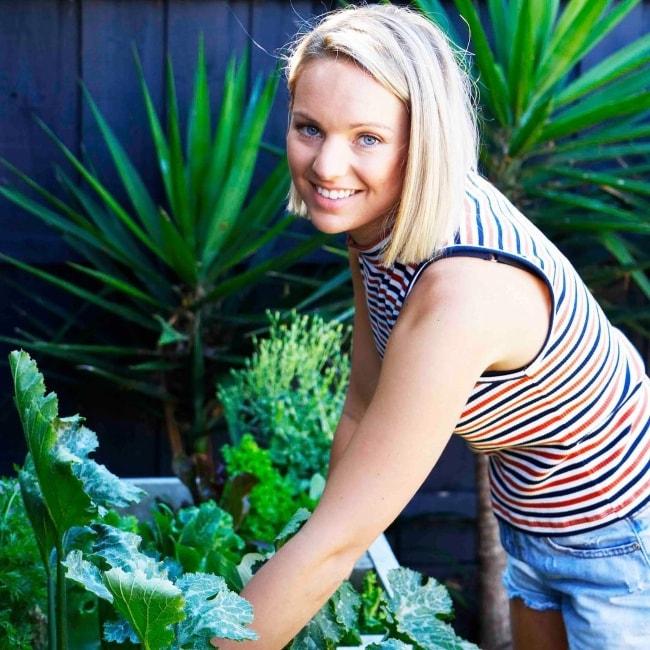 Steph Wearne at a vegetable garden