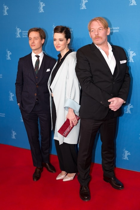 Tom Schilling with Friederike Becht (Center) and Ben Becker (Right) presenting 'The Same Sky' at the Berlinale 2017