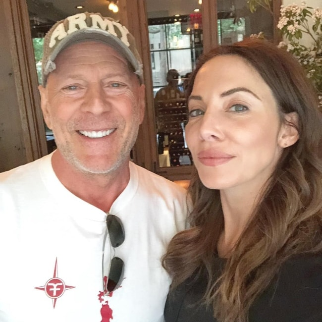 Whitney Cummings in a selfie with Bruce Willis in July 2018