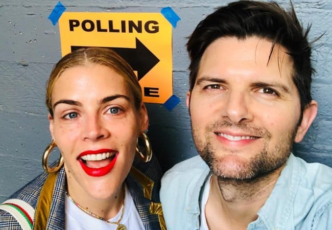 Adam Scott and Busy Philipps in a selfie in November 2018