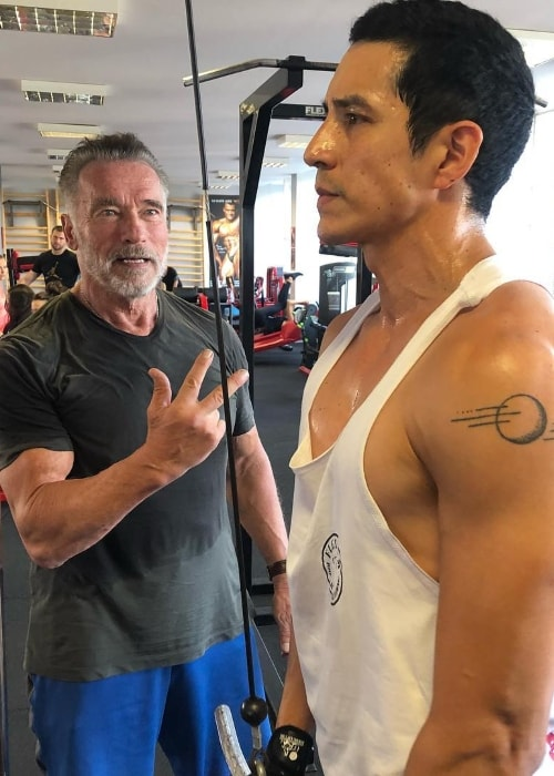 Arnold Schwarzenegger (Left) during Gabriel Luna's training session in August 2018