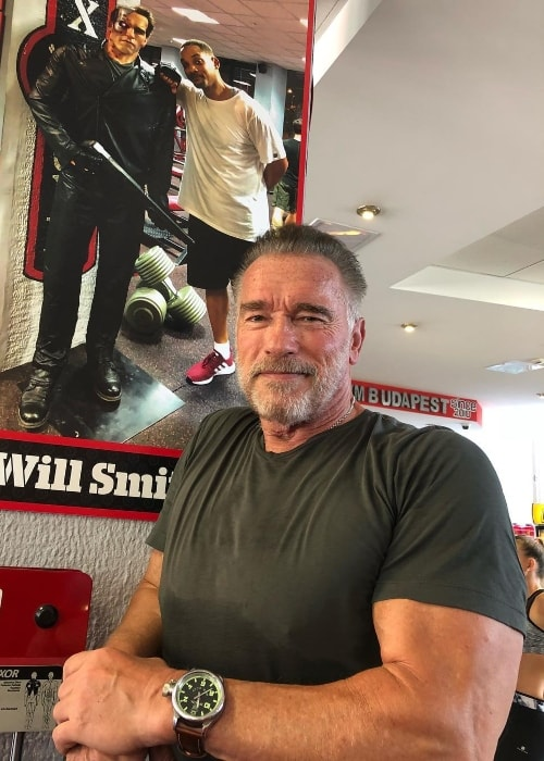 Arnold Schwarzenegger posing in front of a poster having his and Will Smith's picture in August 2018