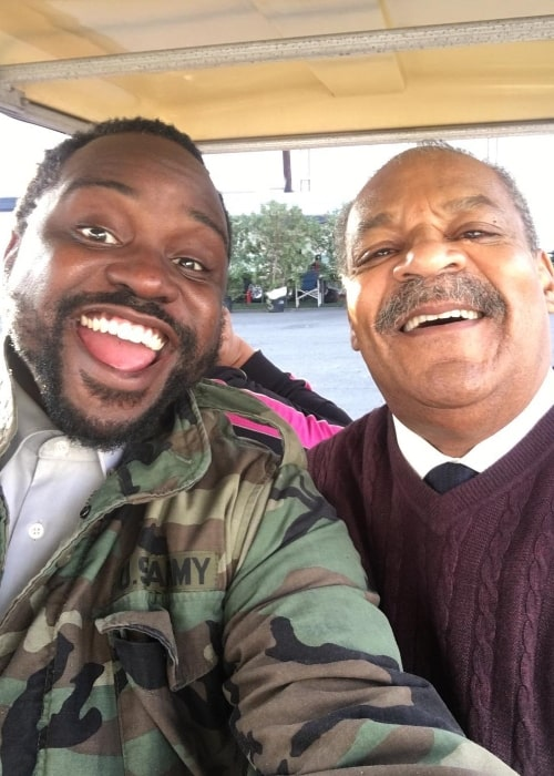 Brian Tyree Henry taking a selfie with Roger Robinson
