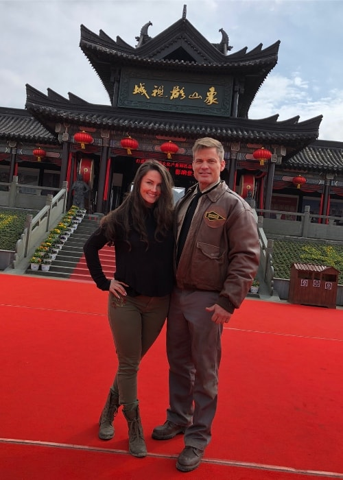 Casper Van Dien with Jennifer Van Dien in Ningbo in March 2018