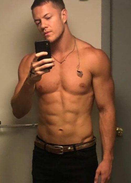 Dan Reynolds in a shirtless selfie in July 2018