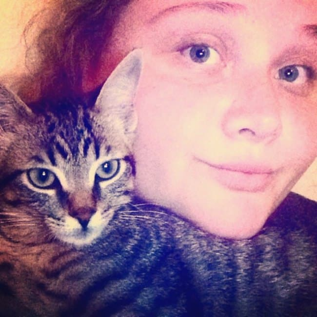 Danielle Macdonald with her cat as seen in June 2015