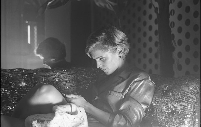 Denise Gough in a black-and-white picture