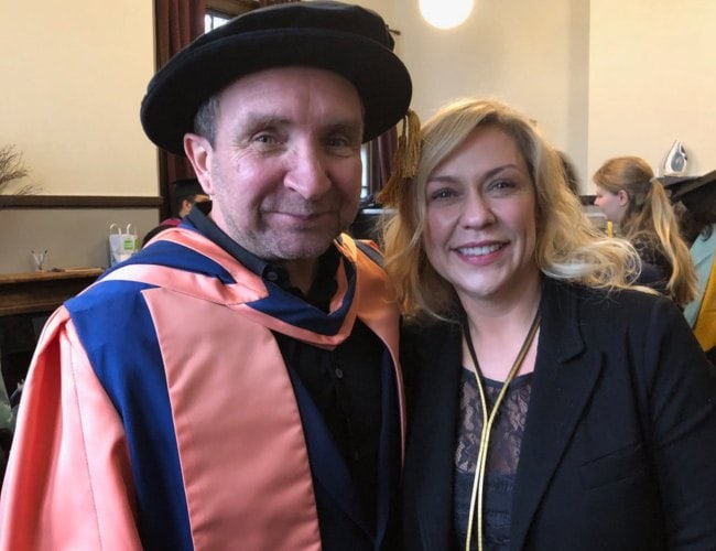 Eddie Marsan and Janine Schneider as seen in November 2018