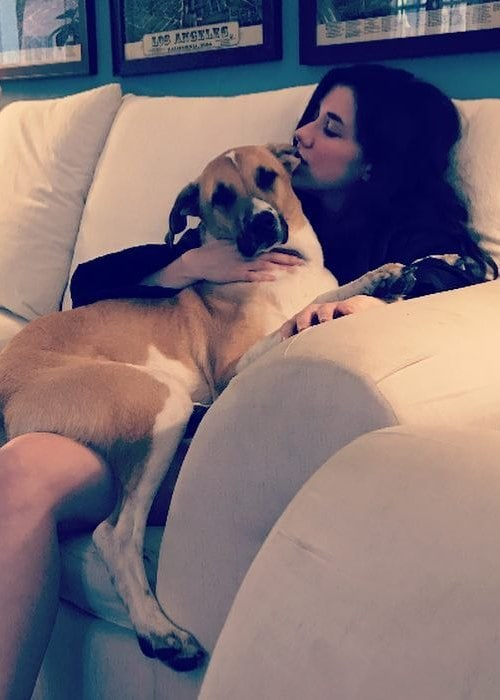 Erica Dasher with her dog as seen in September 2018