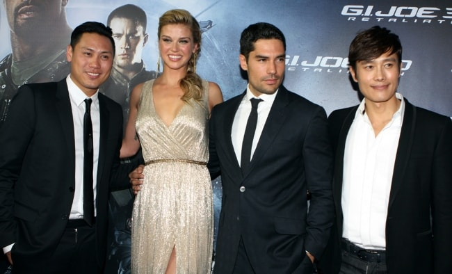 (From Left to Right) Jon M. Chu, Adrianne Palicki, D.J. Cotrona, and Byung-Hun Lee at the red carpet movie premiere of 'G.I. Joe Retaliation' in March 2013