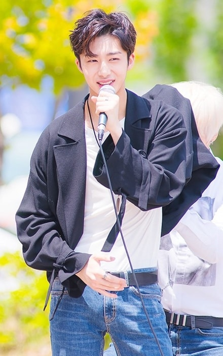 Hyungwon as seen at a fanmeet in May 2016