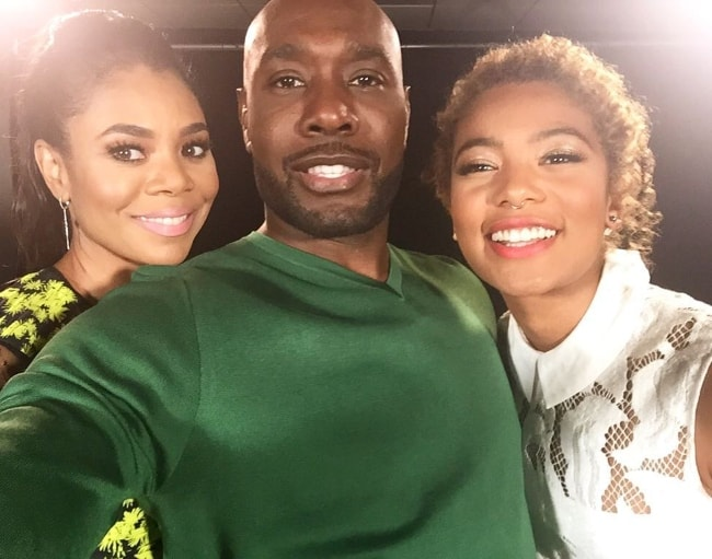 Jaz Sinclair in a selfie with Regina Hall (Left) and Morris Chestnut (Center) in June 2016