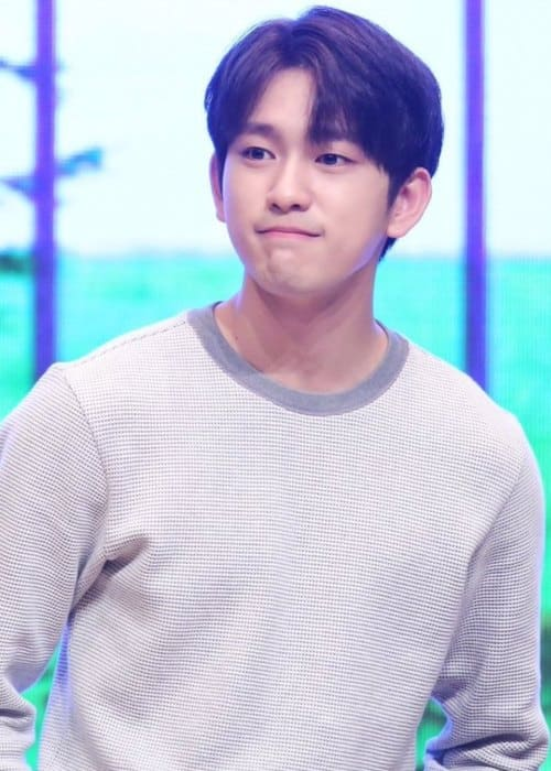 Jinyoung during an event in 2017