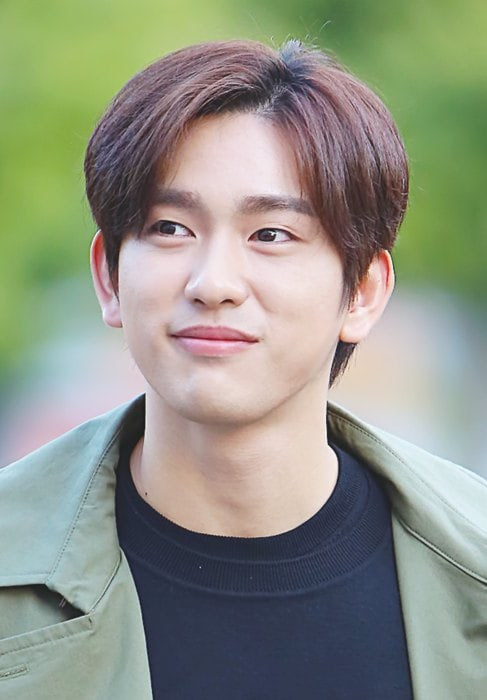 Jinyoung outside Music Bank in October 2017