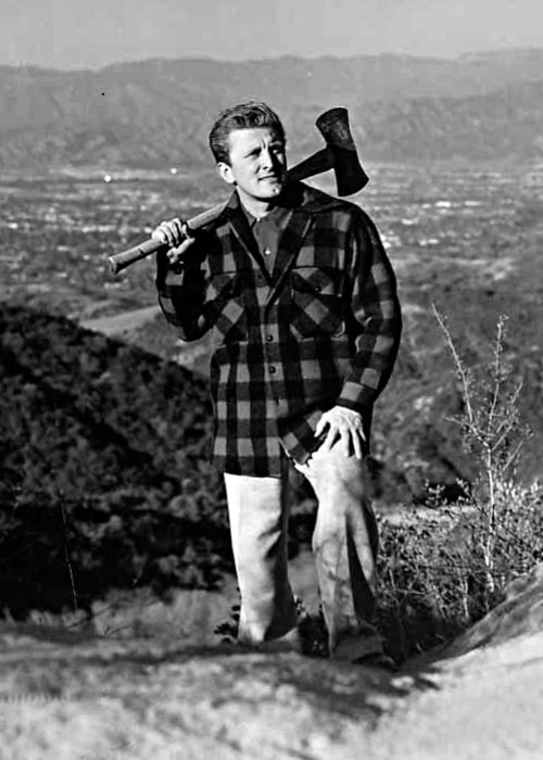 Kirk Douglas posing in a candid pose