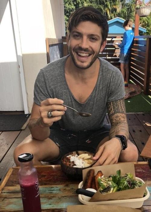 Luke Zocchi enjoying a meal in April 2018
