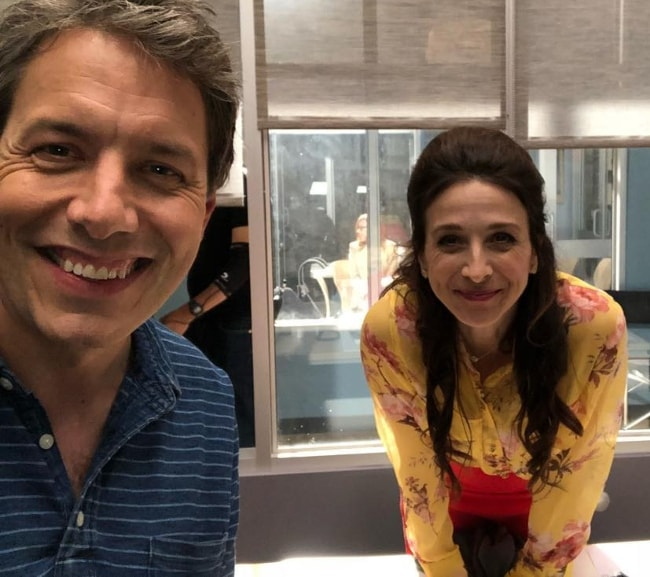 Marin Hinkle in a selfie with John Ross Bowie in August 2018