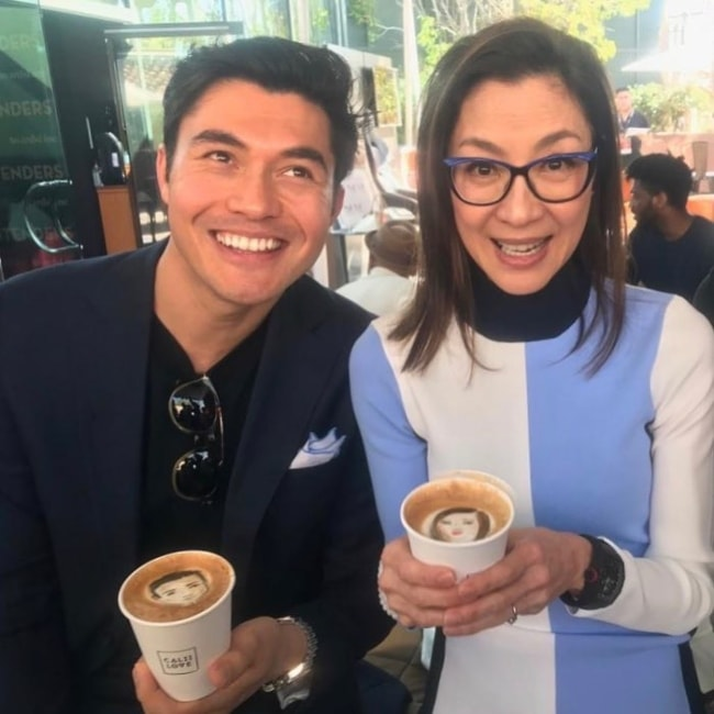 Michelle Yeoh having a coffee with Henry Golding in November 2018