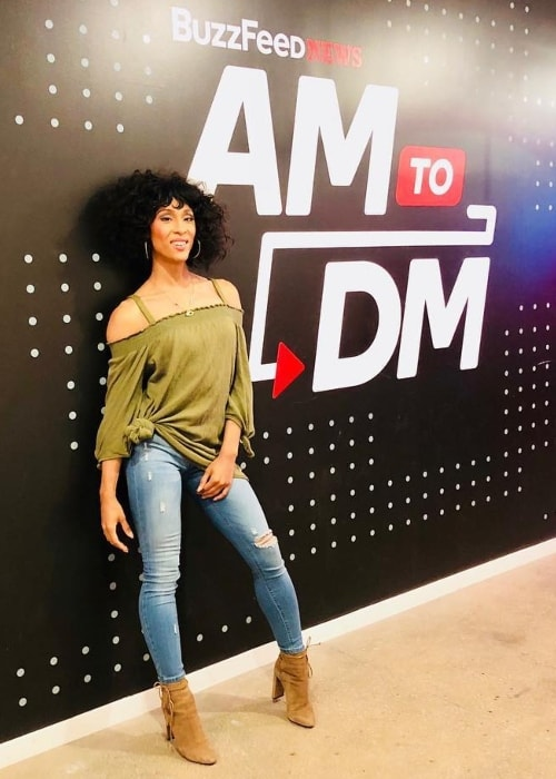 Mj Rodriguez as seen at AM to DM studio in July 2018