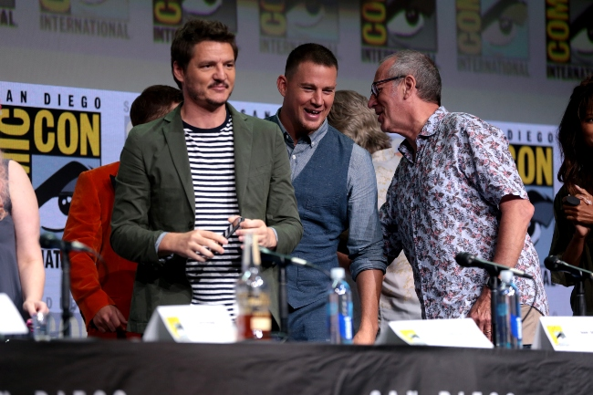 Pedro Pascal with Channing Tatum (Center) and Dave Gibbons (Right) at the 2017 San Diego Comic-Con International